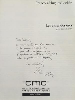 François-Hugues Leclair - Dédicace à Laurence