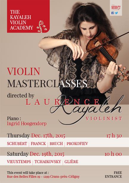 Cours de Maître dirigés par Laurence Kayaleh - Kayaleh Violin Academy - 17 & 19 décembre 2015