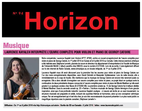 Magazine Horizon - Consulat Général de Suisse à Montréal (Juillet-Août 2016)