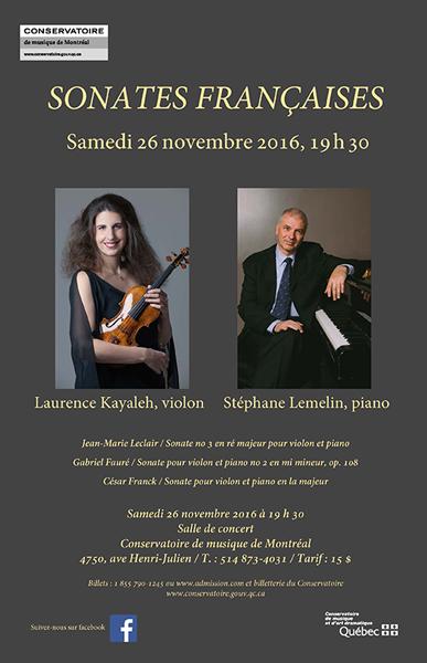 Sonates françaises - Laurence Kayaleh et Stéphane Lemelin en Recital