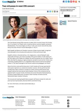 Communiqué de presse - Coast Reporter - Laurence Kayaleh, violon & Michelle Mares, piano