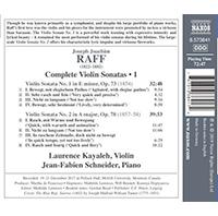 Joachim Raff Complete Violin Sonatas (volume1) - Release Date - Back Cover