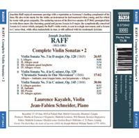 Joachim Raff Complete Violin Sonatas (volume 2) - Release Date - Back Cover