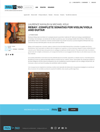 Laurence Kayaleh on PANM360 - Rebay : complete sonatas for violin/viola and guitar