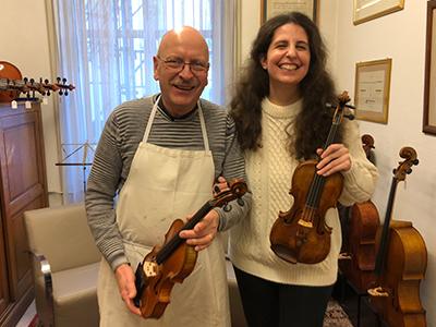 Laurence Kayaleh with eminent violin maker, Roland Baumgartner - Laurence Kayaleh