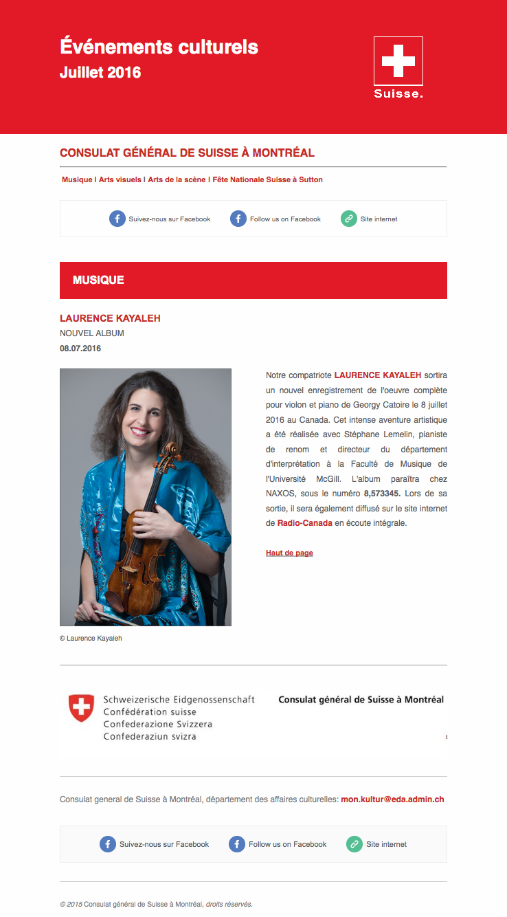 Horizon Magazine - Consulate General of Switzerland in Montreal (July-August 2016)
